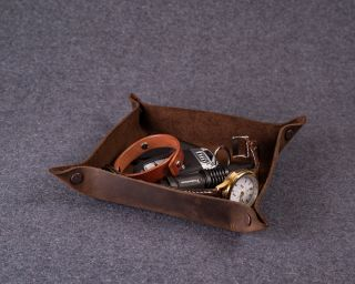 Personalized Leather Tray, M Size In Dark Brown